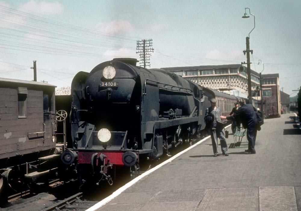Train at Okehampton station, 1961