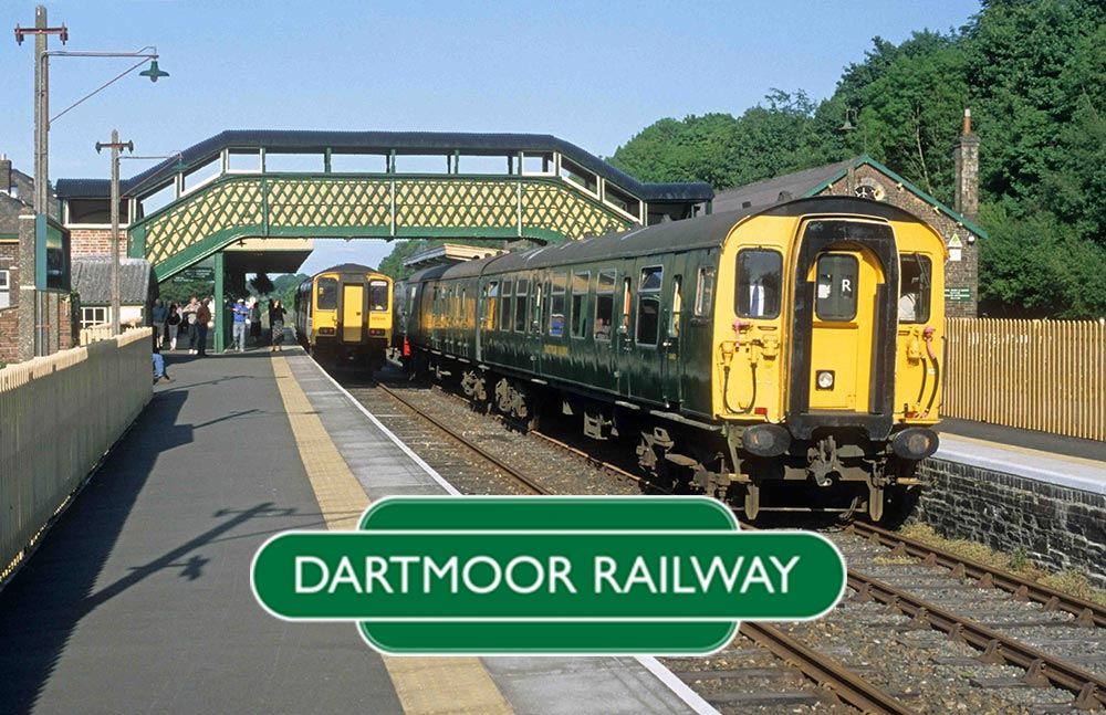 Dartmoor Railway logo, with backdrop of Okehampton station, 2001.