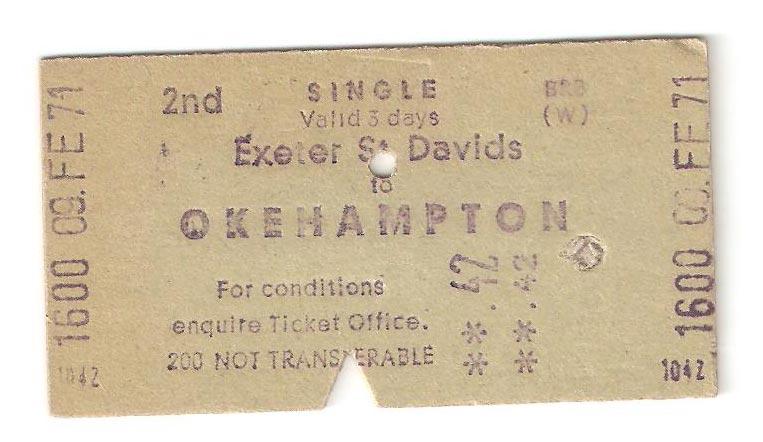 2nd Class Single ticket Exeter St Davids to Okehampton