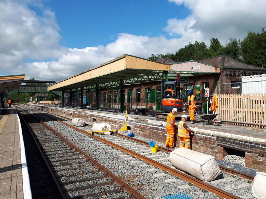 Work on Okehampton station to realign the copers to make them level